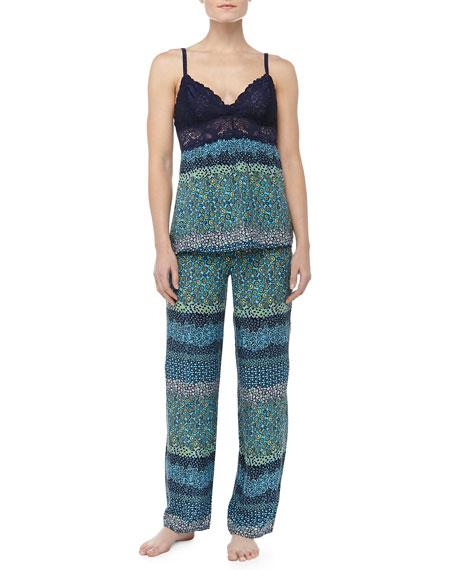 Mixed Daisy Print Lace Cami Pajamas