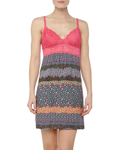 Mixed Daisy Print Lace Chemise, Cosmo Pink
