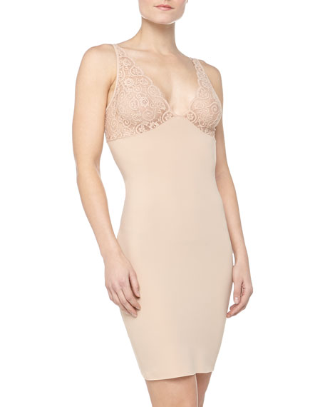 Lace-Top Slip, True Nude