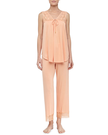Lace Modal Knit Pajamas, Melon