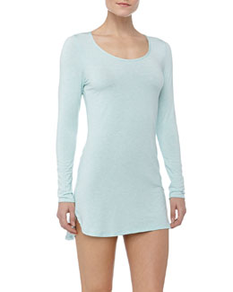 Splendid Intimates Essential Long-Sleeve Chemise, Robin's Egg Blue