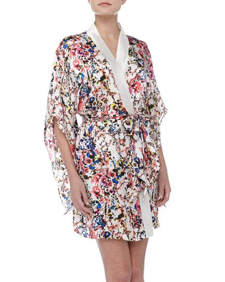 Botanical Garden Print Silk Kimono Robe