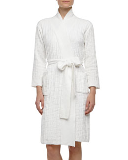Natori Truffle Basketweave Knit Chenille Robe, White