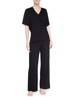 Natori Shangri-La Short-Sleeve Tunic Pajamas, Black
