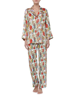 Natori Dynasty Notch Satin Pajamas, Pearl