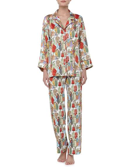Dynasty Notch Satin Pajamas, Pearl