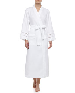 Oscar de la Renta Spa Oasis Crochet-Trim Long Robe, White