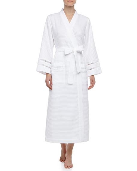 Spa Oasis Crochet-Trim Long Robe, White