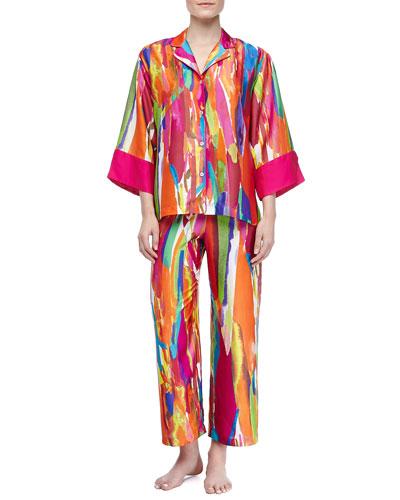 Natori Palau Satin Georgette Paint-Print Pajama Set