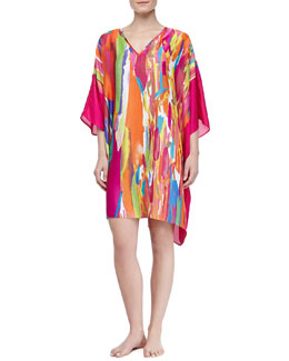 Natori Palau Satin Georgette Paint Print Short Tunic