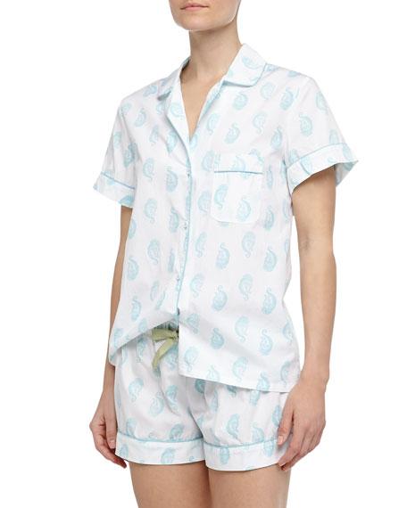 Eloise Batik Paisley Print Short Pajamas, Light Blue/White