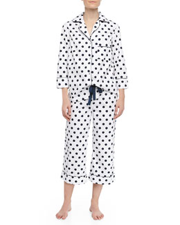 Three J New York Kate Polka Dot Capri Pajamas, Navy/White