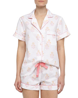 Three J New York Eloise Indian Flower Print Short Pajamas, Pink/Orange/White