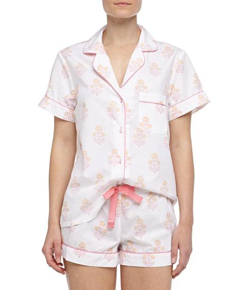 Eloise Indian Flower Print Short Pajamas, Pink/Orange/White