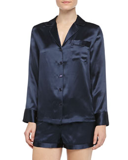Neiman Marcus Long-Sleeve Silk Shorty Pajamas