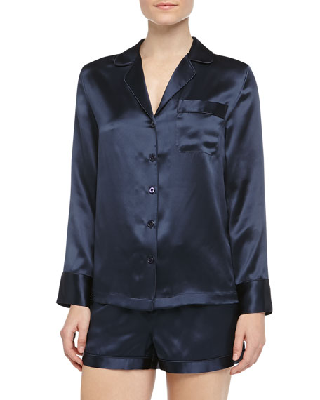 Long-Sleeve Silk Shorty Pajamas