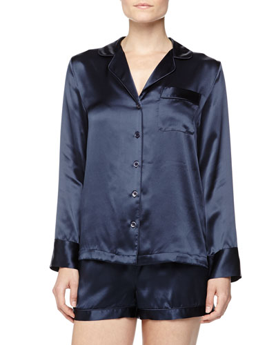 Neiman Marcus Long-Sleeve Silk Shorty Pajamas, Navy