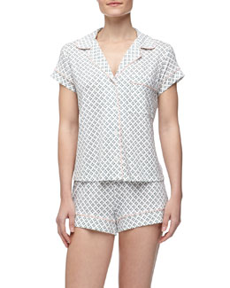 Eberjey Petite-Batik Shorty Pajama Set, Cyan
