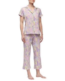 Bedhead Paisley-Print Short-Sleeve Pajamas, Lilac