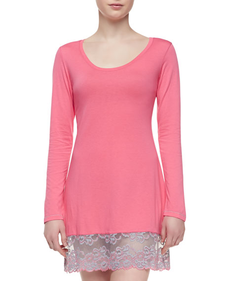 Essential Lace-Hem Sleep Shirt, Watermelon