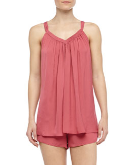Donna Karan Sleeveless Tissue Crepe Shorty Pajamas, Rose Quartz