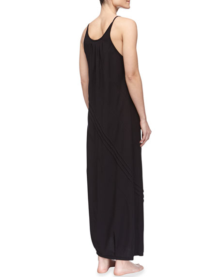 Long Pima Cotton Tank Gown, Black