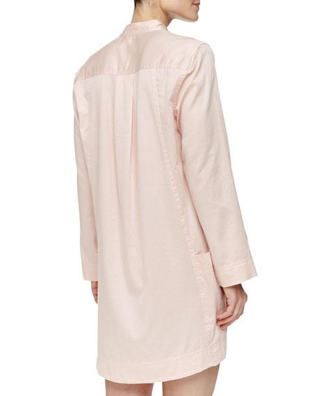 Long-Sleeve Sateen Sleepshirt, Bisque