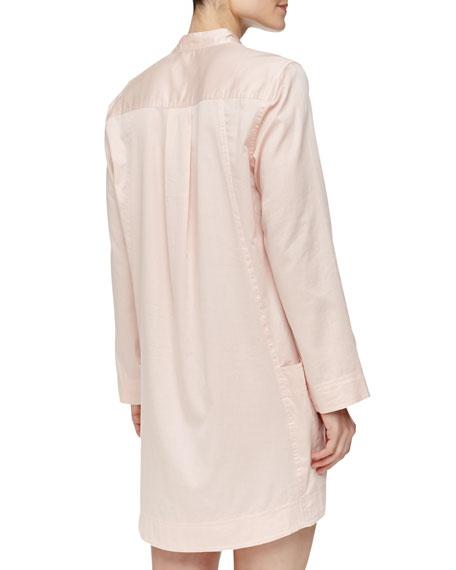 Long-Sleeve Sateen Sleepshirt, Bisque
