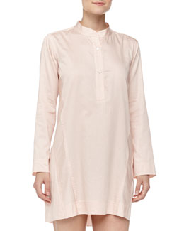 Donna Karan Long-Sleeve Sateen Sleepshirt, Bisque