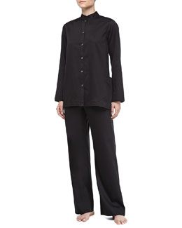 Donna Karan Long-Sleeve Sateen Pajama Set, Black