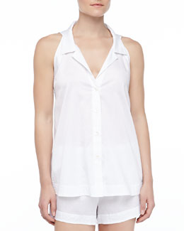 Donna Karan Cotton Batiste Shorty Pajama Set, White