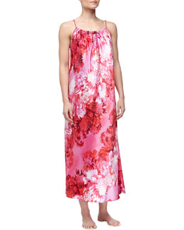 Oscar de la Renta Romantic Peony Charmeuse Long Nightgown