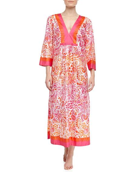 Batik Tiger Lily Swirl Print Caftan, Orange/Pink