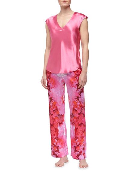 Peony-Print Charmeuse Pajamas