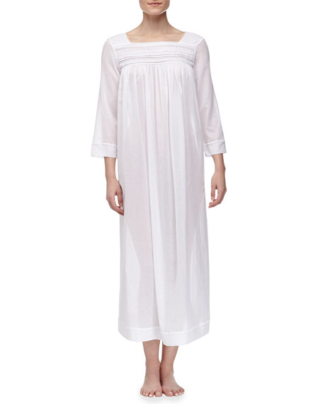 Sheer Serenity Long-Sleeve Cotton Lawn Nightgown