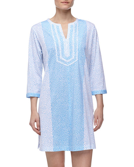Ditsy-Print Pima-Knit Short Caftan, Blue/White