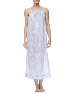 Oscar de la Renta Rose Trellis Cotton Lawn Long Nightgown, Blue