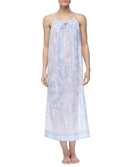 Rose Trellis Cotton Lawn Long Nightgown, Blue