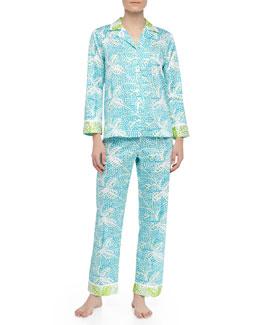 Oscar de la Renta Garden Oasis Sateen Leaf Print Pajamas, Blue/Green