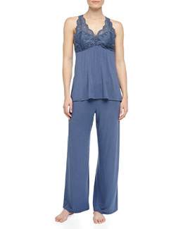 Fleur't Belle Epoque Lace Detailed Pajamas, Deep Storm