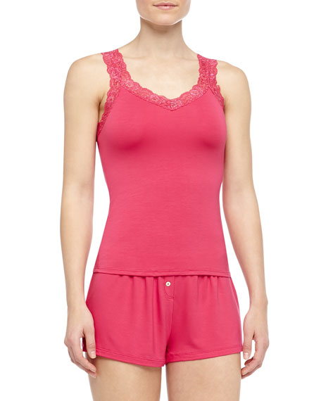 Bottom Drawer Lace Strap Camisole with Shelf Bra and Boxer Short, Fire Coral
