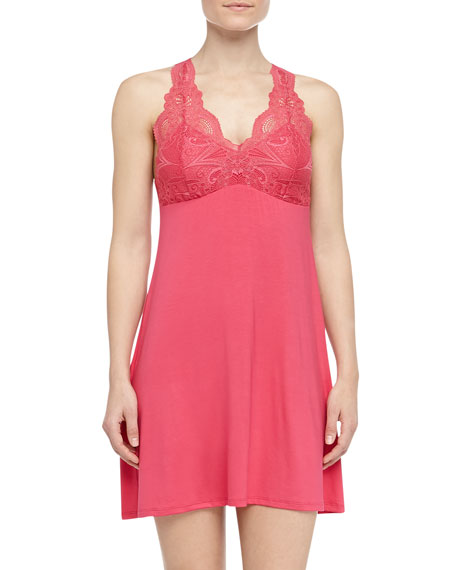 Lace Bust Soft Jersey Chemise, Fire Coral