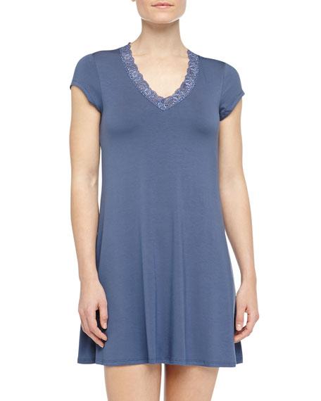 Cap-Sleeve Lace Trimmed Shelf-Bra Sleepshirt, Deep Storm