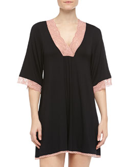 Fleur't Sweet Escape Lace-Trimmed Sleepshirt, Black