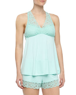Fleur't Scalloped Lace Tank & Shorts Pajama Set, Honeydew