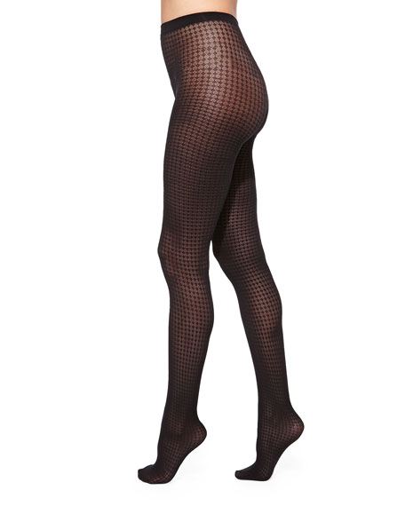 Tippi Diamond-Pattern Tights, Black