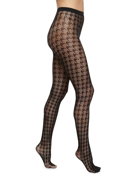 Pascale Houndstooth-Check Net Tights, Black