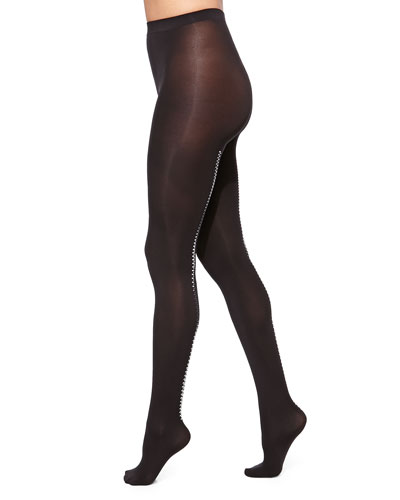 Velvet 66 Zip Tights, Black/Silver