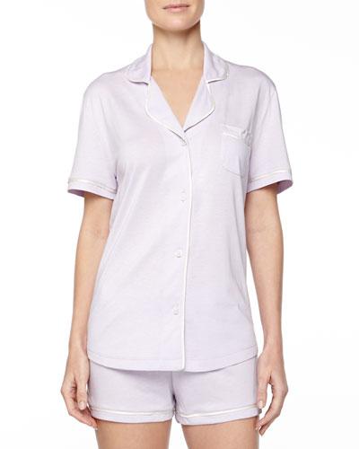 Bella Boxer-Short Jersey Pajama Set, Petal/Ivory