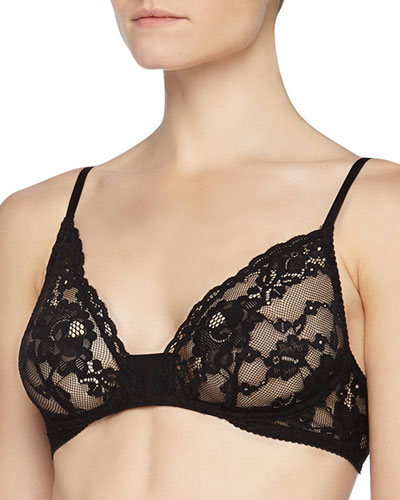 Ravello Wireless Floral Lace Bra, Black